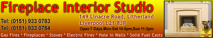 Discount Fireplace Centre, based in Merseyside. Tel:(0151) 9330783. Suppliers of gas, electric fires & Stoves. Limestone & Cast iron mantlepieces