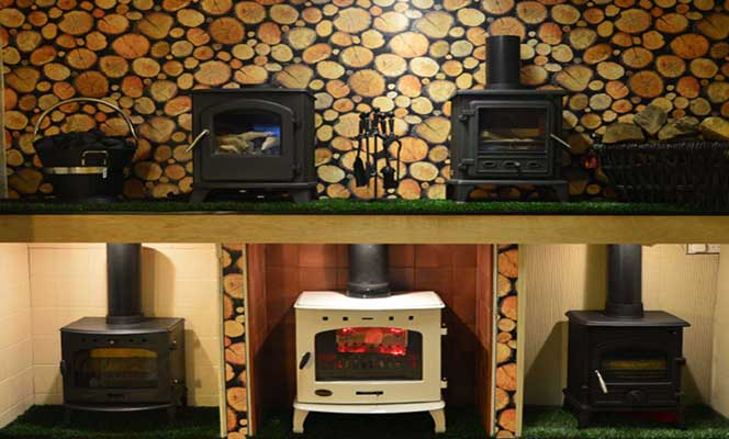 Display od solid fuel stove Fires